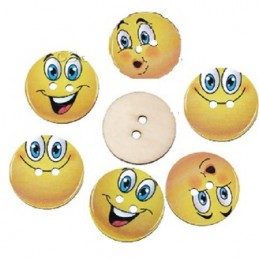 LOT 6 BOUTONS BOIS : rond motif Smiley 3 modèles 24mm