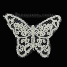 APPLIQUE DENTELLE ECRUE : papillon 80 x60mm