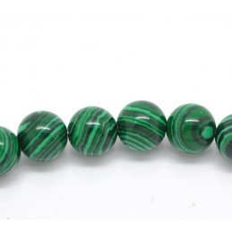 MALACHITE VERITABLE : 10 pierres semi-precieuses rondes 10mm