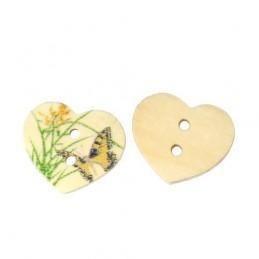 LOT 6 BOUTONS BOIS : coeur motif papillon 17mm (n°1)