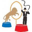 POCHOIR NEUF ROSE 17 x12cm : scene avec le lion