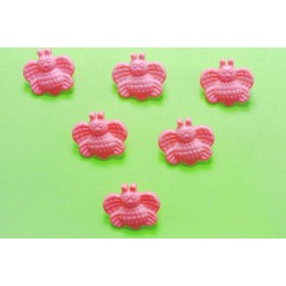 LOT 6 BOUTONS : abeille rose  18mm