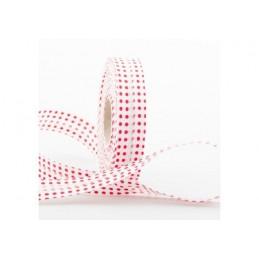 BIAIS COTON PLIE 20MM : blanc motif pois rouge