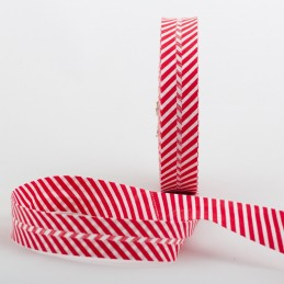 BIAIS COTON PLIE 20MM : rouge motif rayure blanche