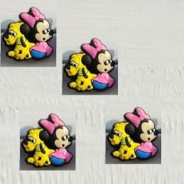 4 CHARMS PLASTIQUES POUR DECORATION CHAUSSURES PLASTIQUES : Minnie et Pluto (06)