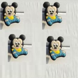 4 CHARMS PLASTIQUES POUR DECORATION CHAUSSURES PLASTIQUES : Mickey (02)