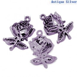 LOT  5 CHARMS METALS GRIS : rose 22mm