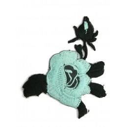 APPLIQUE THERMOCOLLANT : fleur bleu/noir 90 x60mm
