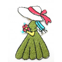 APPLIQUE THERMOCOLLANT : fille au chapeau 40 x25mm