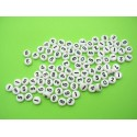 100 perles rondes blanches chiffres noires 7 mm