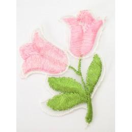 APPLIQUE TISSU : fleur rose/blanc 70 x65mm
