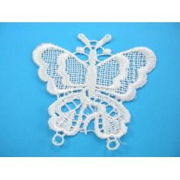 APPLIQUE TISSU DENTELLE : papillon blanc 70 x60mm