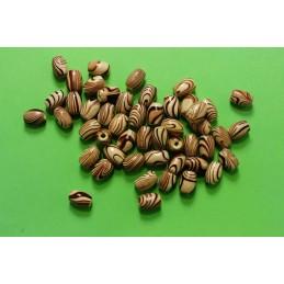 50 perles olives bois marron marbré 8*5mm (03)