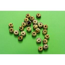 50 perles rondes bois marron marbré 6 mm (05)