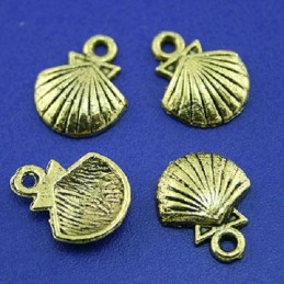 LOT 5 CHARMS METALS DORES : coquille 14mm