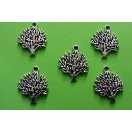 LOT  5 CHARMS METALS ARGENTES  : arbre 20mm