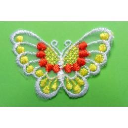 APPLIQUE DENTELLE : papillon jaune/rouge/blanc 60 x40mm