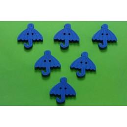 LOT 6 BOUTONS BOIS : parapluie bleu 23mm