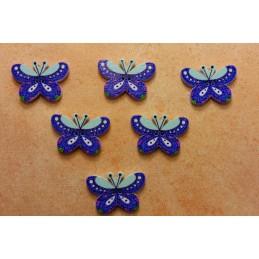 LOT 6 BOUTONS BOIS : papillon bleu 24mm