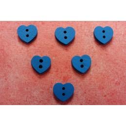 LOT 6 BOUTONS BOIS : coeur bleu 12mm
