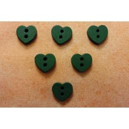 LOT 6 BOUTONS BOIS : coeur vert 12mm