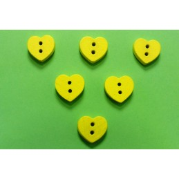 LOT 6 BOUTONS BOIS : coeur jaune 12mm