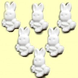 LOT 6 BOUTONS : lapin blanc 19mm