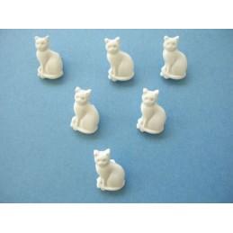 LOT 6 BOUTONS : chat blanc...