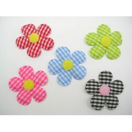 LOT  5 APPLIQUES TISSUS  : fleur 5 couleurs 35mm