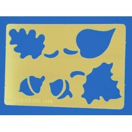 POCHOIR LAITON : feuilles et glands 80  x55mm