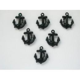 LOT 6 MOTIFS PLASTIQUES : ancre noire hauteur 21mm