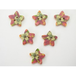 LOT 6 BOUTONS BOIS : etoile motif fleur 18mm (n°04)