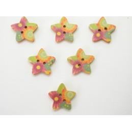 LOT 6 BOUTONS BOIS : etoile motif fleur 17mm (n°01)
