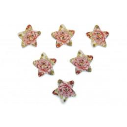 LOT 6 BOUTONS BOIS : etoile motif fleur 17mm (n°02)