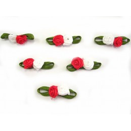 LOT 6 APPLIQUES TISSUS : rose double rouge/blanche 17mm