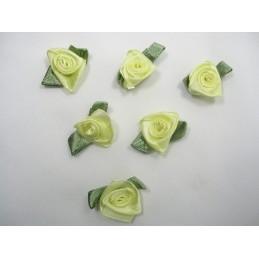 LOT 6 APPLIQUES TISSUS : rose jaune pale 20mm