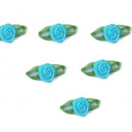 LOT  6 APPLIQUES TISSUS  : rose 11mm