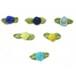LOT 6 APPLIQUES TISSUS : rose 6 couleurs tons bleu et jaune 10mm