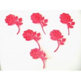 LOT 6 APPLIQUES TISSUS : rose couleur rose velours hauteur 50mm