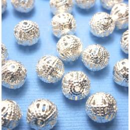 25 perles rondes métal argentées fantaisies 6 mm