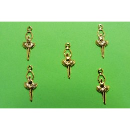 LOT 5 CHARMS METALS : Danseuse 16 mm