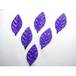 LOT 6 APPLIQUES TISSUS : feuille violette 54mm