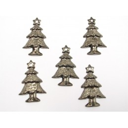 LOT  5 CHARMS METALS NOIRS  : sapin 23 mm