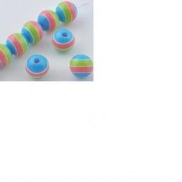 LOT 25 PERLES ACRYLIQUES : rondes bleu rose/vert 6 mm