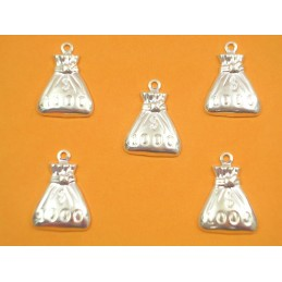 LOT 5 CHARMS METALS ARGENTES : Sac mille dollars 18 mm