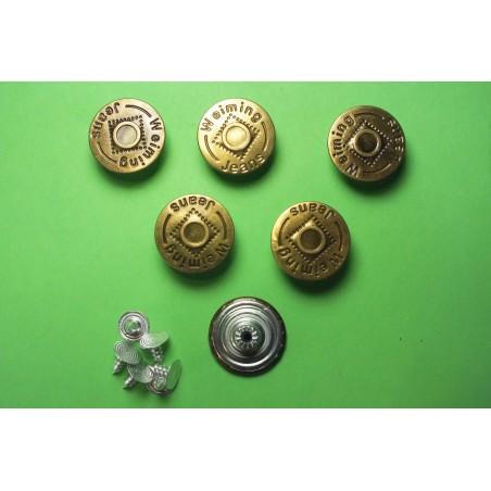 LOT 6 BOUTONS METAL 20mm (n°72) : rond à pression pour jean