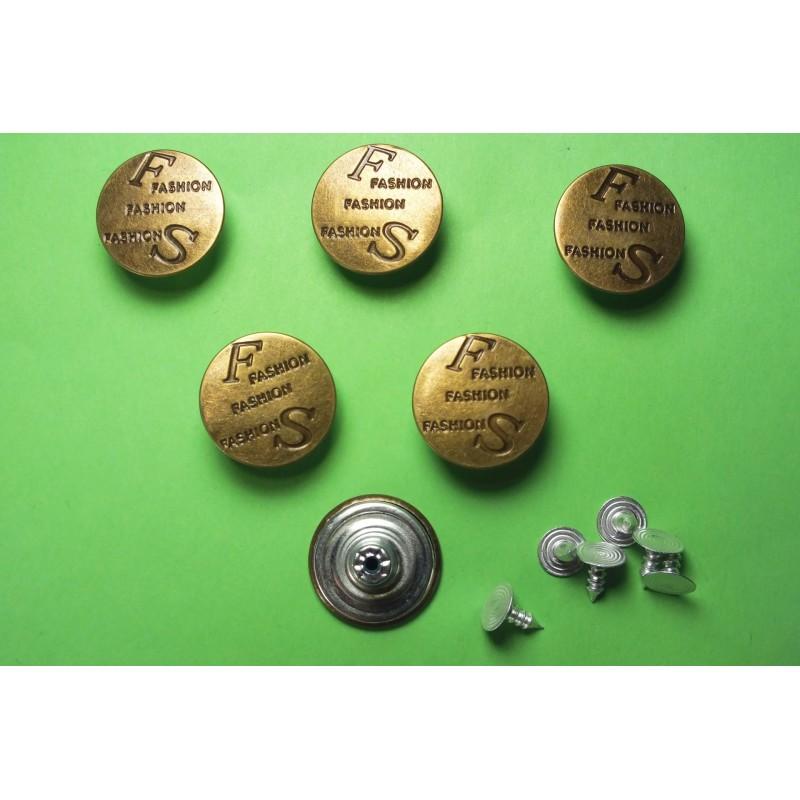 LOT 6 BOUTONS METAL 20mm (n°70) : rond à pression pour jean