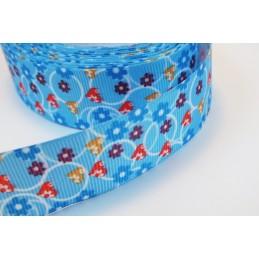 RUBAN : bleu motif fleur largeur 25mm  longueur 100cm