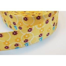 RUBAN : jaune motif fleur...