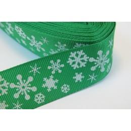 RUBAN : vert motif flocon...